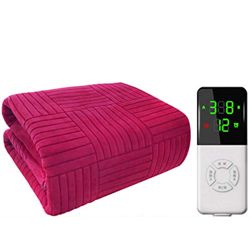 ZXJ Heating Throw Blanket Electric, Electric Blanket Super King Size Dual Control, 9 Heat Settings, Washable And Safe,Red,S