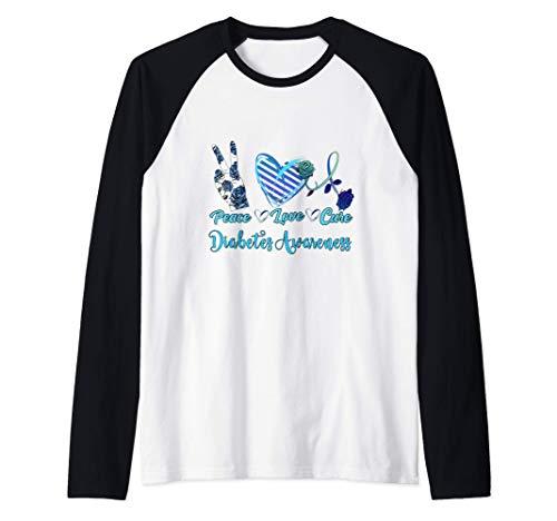 Peace Love Cure Blue Ribbon Diabetes Awareness Women's Gift Raglan Baseball Tee