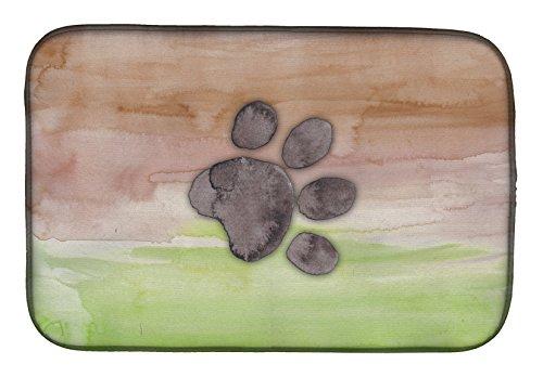 Caroline's Treasures BB7359DDM Dog Paw Watercolor Dish Drying Mat, 14 x 21', multicolor