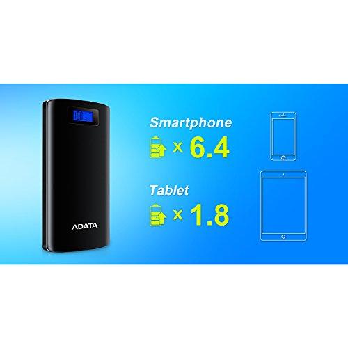 ADATA20000mAhモバイルバッテリーデジタルディスプレイ付き1年間保証AP20000D-DGT-5V-CBKブラック