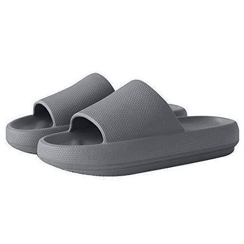 Claquette Homme Femme Pantoufles de Douche Adultes Unisex Antidérapantes Sandales Plates Léger Chaussure de Piscine et Plage Slipper Idéal pour Intérieur Extérieur Bain Gris 42-43(Convient à 41-42
