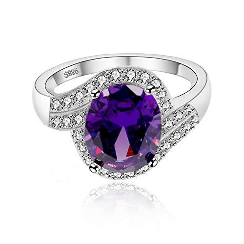 Uloveido Mode Rhodium plattiert lila Kristall Jahrestag Graduierung Ringe Valentinstag Geburtstag Ring für Frauen Mädchen Mama J334 (59 (18.8))