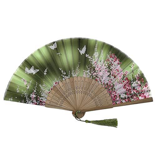 Andouy Retro Faltfächer/Handfächer/Papierfächer/Federfächer/Sandelholz Fan/Bambusfächer für Hochzeit, Party, Tanzen(21cm.Grün-Quaste)