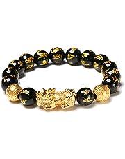 Nerplro Feng Shui Golden Pi Xiu Lucky bogaty amulet bransoletka, czarna naturalna obsydian bransoletka bogactwo