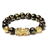Excras Feng Shui Bracelet D'amulette Pi Xiu, Bracelet en Obsidienne Naturelle Noire