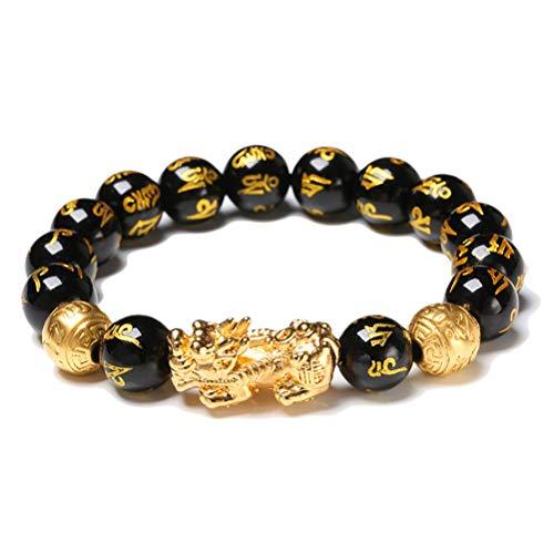 Yeaphy Pulseira Pixiu de obsidiana preta de pedra natural, pulseira chinesa de pérolas feng Shui de 12 mm com amuleto preto esculpido à mão para prosperidade e felicidade
