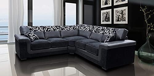 Harmony Corner Sofa Black Faux Leather Fabric Settee