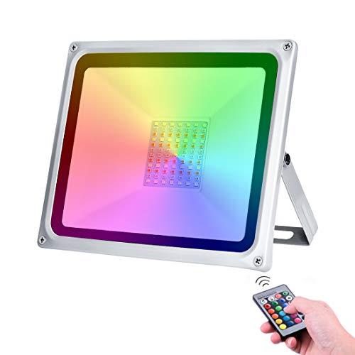 LED RGB Luces de Inundación de 50W con control remoto 4000LM IP65 Focos de Exterior Impermeables Adecuados para Jardín, Paisaje, Escenario, Calles