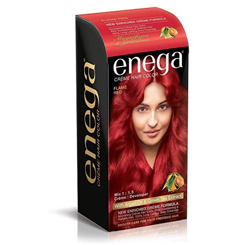 Prem Green Enega Cream Hair Color with Argan Oil and Green Tea Extract Formula Smooth Care for Your Precious Hair (Flame Red)