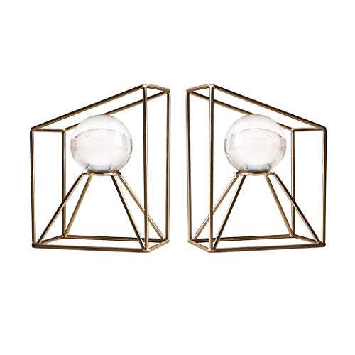 Serre-livres Bookends Livre Se Termine for Le Bureau Décoratif Bookends Cristal Boule en Verre Décoration Art Décoration Vin Cabinet Bookend Cadeau Parfait (Color : Brass, Size : 20 * 10 * 15cm)