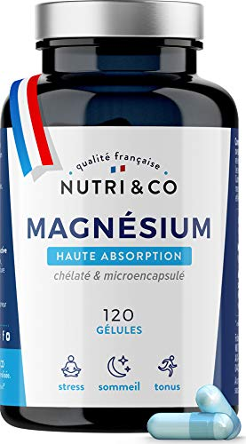 Magnesium Végétal & Vitamine B6 Bioactive   Malate & Liposome de Magnésium   Absorption Supérieure au Bisglycinate & Teneur Egale au Magnésium Marin   300mg/j 120 Gélules Made in France   Nutri&Co