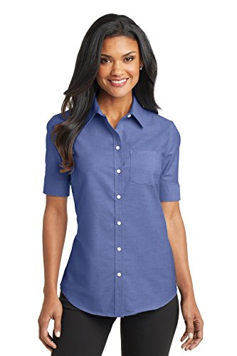 Port Authority L659 Women's Short Sleeve SuperPro Oxford Shirt Navy Small