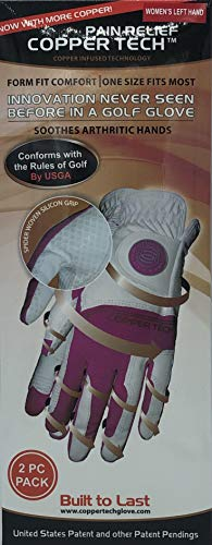 CopperTech Woman's Golf Gloves 2 Pack Worn on Left Hand(ONE Size FITS Most) for The Right Handed Golfer White/Fuchsia
