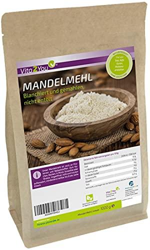 Mandelmehl 1kg - blanchiert und naturbelassen - Mandeln gemahlen zum Backen - 1000g - Premium Qualität