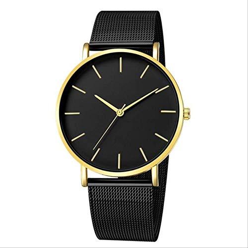 WFQ Armbanduhr Edelstahl Quarz Armbanduhr mit Mesh-Armband für Herren Fashion Business Uhren Schwarz Uhr Männliche Uhr Schwarz 1