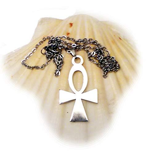 Schmuck Halskette Damen Herren mit Anhänger Ankh Kreuz ägyptisches Henkelkreuz Edelstahl