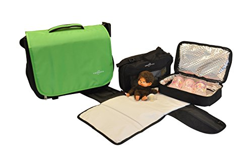 Obersee Madrid Convertible Diaper Backpack Messenger Bag, Green