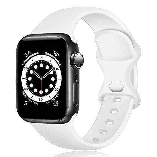 TopPerfekt Correa de silicona compatible con correa de reloj Apple de 38 mm y 40 mm, correas de repuesto de silicona para iWatch Series 6 5 4 3 2 1 SE (38/40 mm-M/L, blanco)