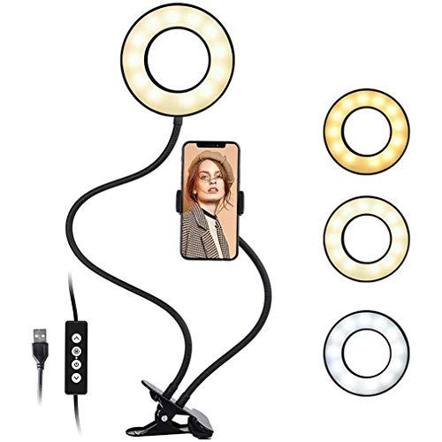JCJ-Shop Anillo De Luz para Selfie con Soporte para Teléfono Celular y Abrazadera Brazos Flexibles Modo 3 Colores Brillo 10 Niveles Rotación 360 ° para Grabación De Video De Maquillaje En Vivo