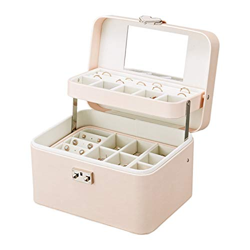 FYAS Rounded Corners Jewellery Box PU Leather Jewelry Storage Case 3 Layers with Mirror for Rings Earrings Necklace Jewelry Organiser
