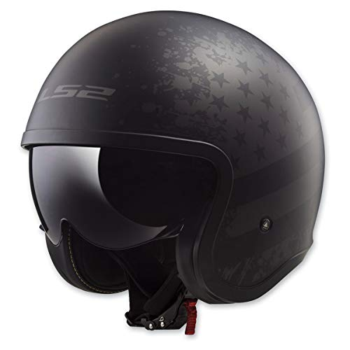 LS2 Helmets Open Face Spitfire Helmet (Black Flag Matte - X-Large)