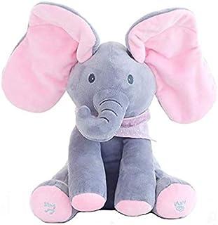 Peek-a-boo Elephant, OMGOD hide-and-seek game Baby Animated Plush Elephant Doll - Gray
