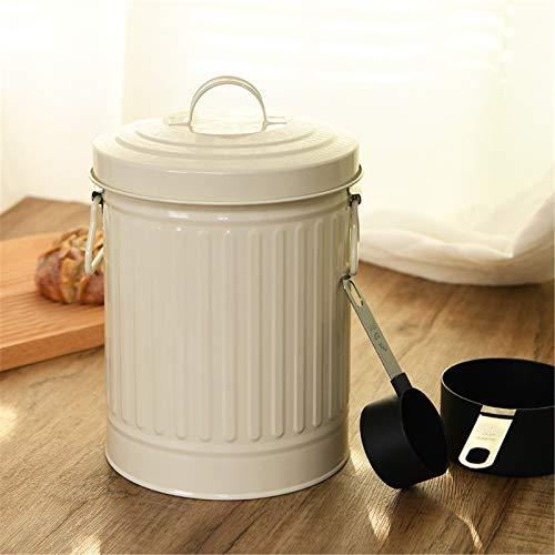 LiChaoWen Botella de Almacenamiento de Cocina de Fideos de Fideos de Metal Blanco y Tarro de contenedor doméstico con 4 cucharas de Comida Contenedor de Almacenamiento de arroz