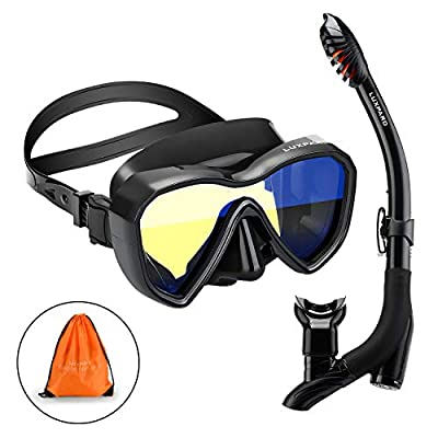 LUXPARD Snorkel Set, Anti-Fog Panoramic View Snorkel Mask and Anti-Leak Dry Snorkel Tube, Snorkeling Gear for Adults, Snorkel Kit Bag Included (Black)