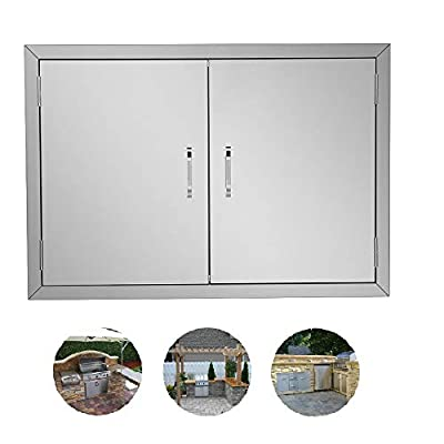 ROVSUN Outdoor Kitchen Door, 304 Grade Heavy Duty BBQ Access Door, 30.5''W x 21''H Flush Mount Stainless Steel Double BBQ Island Door, Perfect for Outdoor Kitchen, BBQ Island & Grilling Station