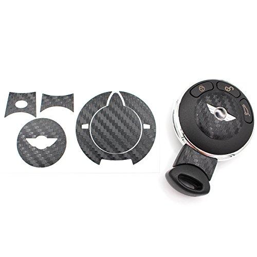 Schlüssel Folie MIA für 3 Tasten Auto Schlüssel Cover Folien Dekor Aufkleber (Carbon Schwarz)