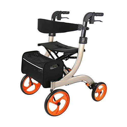 CHenXy Ältere Walker, Einkaufswagen klappbaren tragbaren Trolley mit Handbremse und Sitzplatte Assisted Gehen, 2 Farben erhältlich medizinische Walker (Color : Champagne Gold)