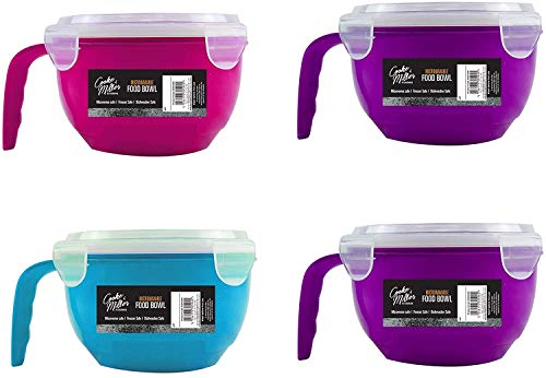 Everbuy - Juego de 4 cuencos de alimentos para microondas con tapa hermética y asa, 940 ml, ideal para cocina, almuerzo, viajes y más
