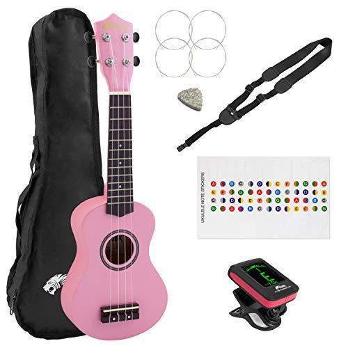 Tiger - Ukelele soprano para principiantes (incluye bolsa de regalo), rosa