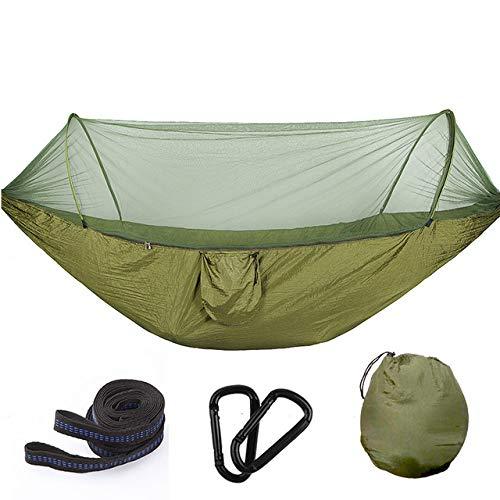 YHWW Hamaca,Hamaca de superviviente de Camping Doble portátil Multiusos con mosquitera Saco de Columpio Cama de Hamaca Tienda de campaña Uso de Muebles, Estilo 2 Verde Militar