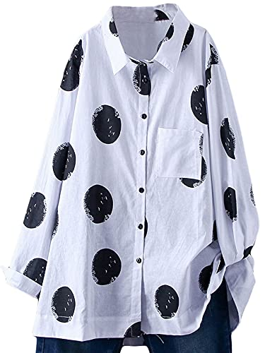 FTCayanz damskie bawełniane tuniki koszule luźne luźne luźne bluzki w kropki