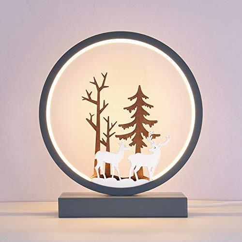 Lámpara de mesa LED creativa con mando a distancia inteligente para casa, hotel, estudio, dormitorio, lámpara de mesita de noche, regalo, Navidad, cumpleaños, regalo de fiesta (gris y azul)