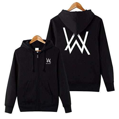 Piezone Allen Walker Letter Graphic Sweatshirt Unisex Zipper Hoodies Jacket Coat,Black,M