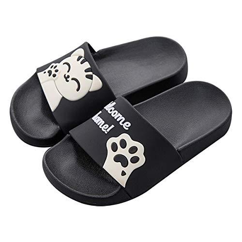 Pantoufles familiales pour Femme/Homme/Garçon/Fille Été Chat Mignon Diapositives Sandales sur la Plage Salle de Bain Piscine 38 EU (Taille de l'étiquette 39) Noir (Style été)