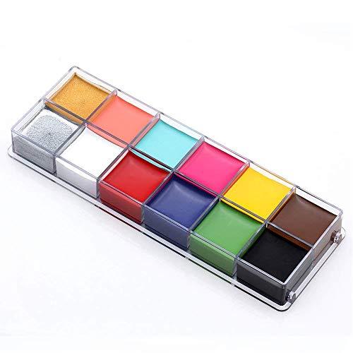 TEEROVA Face Body Paint Professional 12 Blitzfarben Face Oil Painting Kunst Makeup Palette Set