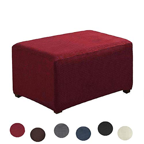 Argstar Jacquard Ottoman Cover Fleece Stretch Slipcover Elastic Wine Red for Sofa Sets