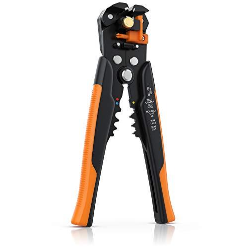 Brandson - Abisolierzange - 10-24 AWG - selbsteinstellend - Kabelschneider zum Abisolieren für Kabeldurchmesser von 0.2-6mm² - Crimpzange Crimpen 0,5 – 6 mm2 - Box mit 60 Klemmen