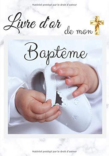 Livre d'or de mon baptême: Pour fille | Élégant papier blanc cassé | 80 pages (lignées et...