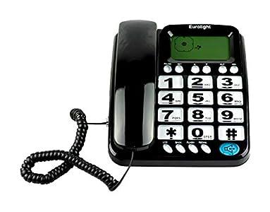 TELEFONO FIJO PANTALLA IDENTIFICADOR LLAMADAS PERSONAS MAYORES SOBREMESA DIGITOS TF-L22 (NEGRO)