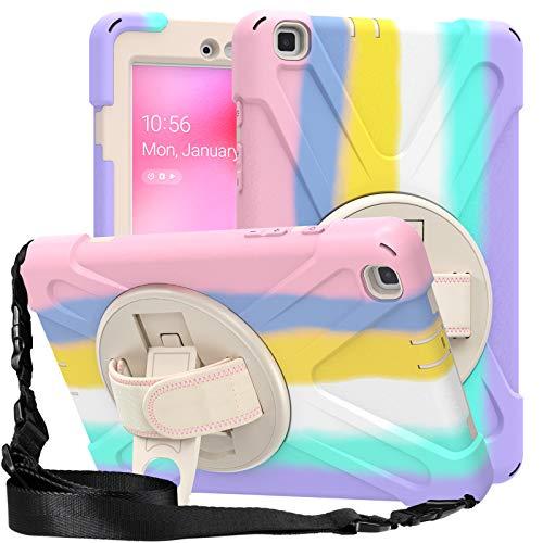 Funda para Galaxy Tab A 8.0' 2019 (SM-T290 / SM-T295), Funda Robusta Antichoque con Soporte y Correa de Mano, Resistente a Prueba de Golpes Inteligente Cubierta Protectora,Colorful Pink