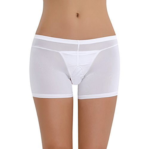 YiZYiF Transparent Damen Pantys Unterwäsche Hot Pants Dessous Hipster Boxershorts Öffene Schritt Panties Reizwäsche Boy Shorts Weiß (Ouvert) One Size