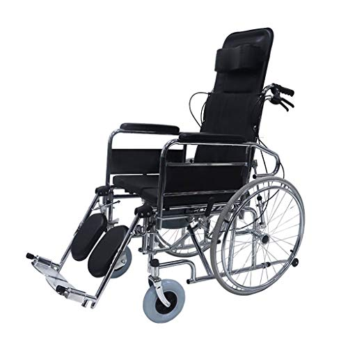 Wheel Silla De Ruedas para Ancianos con Inodoro, Diseño Reclinable A 180 °, Respaldo Plegable Y Reposapiés Reversible, 4 Sistemas De Frenos, Negro