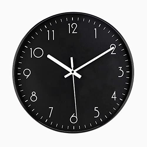 DIYZON Reloj de Pared Moderno, Reloj de 30 cm Silencioso Entry Lux de Moda, Movimiento de Cuarzo sin Tictac con Batería, Lectura Fácil, Adecuado para Dormitorio, Cocina, Escuela, Oficina