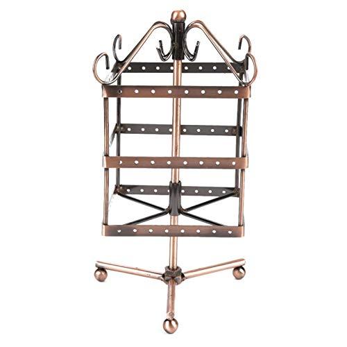 Jingyig Estante de joyería, Soporte Giratorio de exhibición de joyería de 3 Capas, 9,4 x 4,7 x 5,1 Pulgadas 96 Agujeros para Collar de joyería(Bronze)