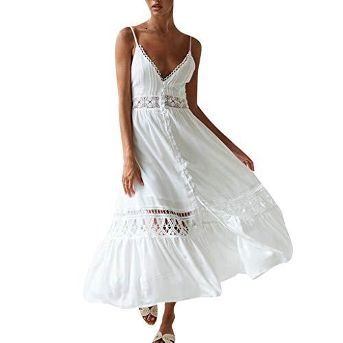 Overdose Vestido Blanco de Las Mujeres Ocasional Sólido con Cuello En V de Encaje Patchwork Hollow Sin Mangas Sling Largo Maxi Vestido Vestidos de Verano Mujer 2019