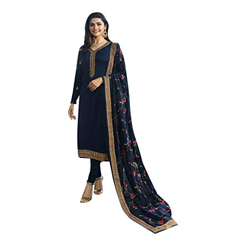ETHNIC EMPORIUM New Indian Pakistani Straight Salwar Kamiz Kameez Suit Kurti Bollywood Girl Straight Pant Wedding Suit Georgette Damen Frauen Party Women 7160